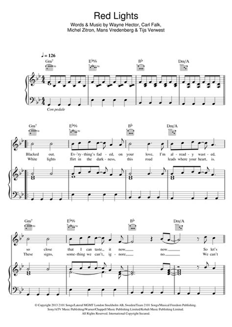 Lights Chords by Lights Sheet By Tiesto Piano Vocal Guitar Right Melody 118193