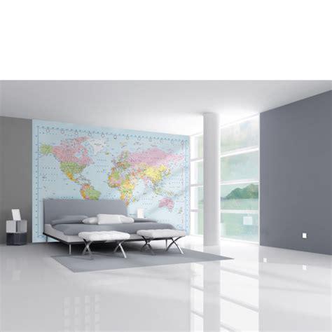 modern mural world map in stunning digital colour wall mural homeware
