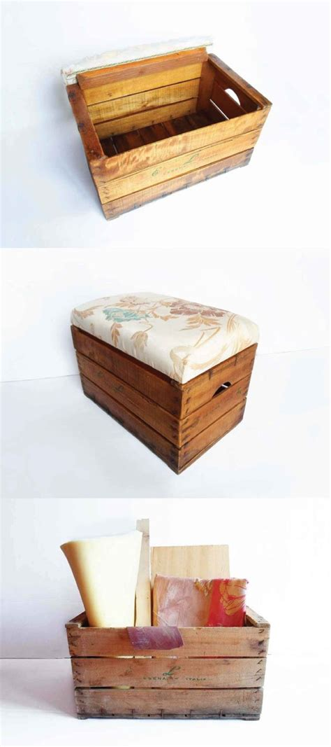 Diy Storage Ottoman Turn A Vintage Wooden Crate Into A Build Storage Ottoman