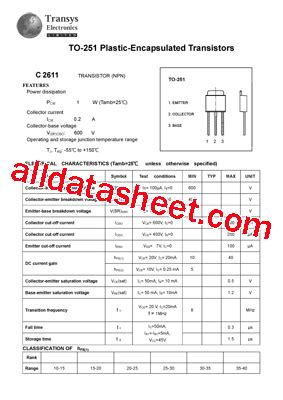 Transistor C2611 c2611 datasheet pdf transys electronics limited