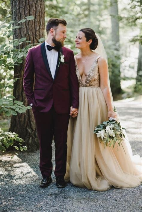 Maroon Groom Suit   Champagne Bridal Gown   Wedding
