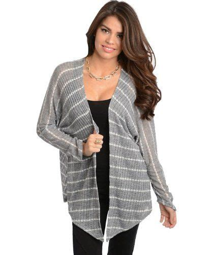 Sweater G2 G2 Chic S Sleeve Open Front Striped Rib Sweater