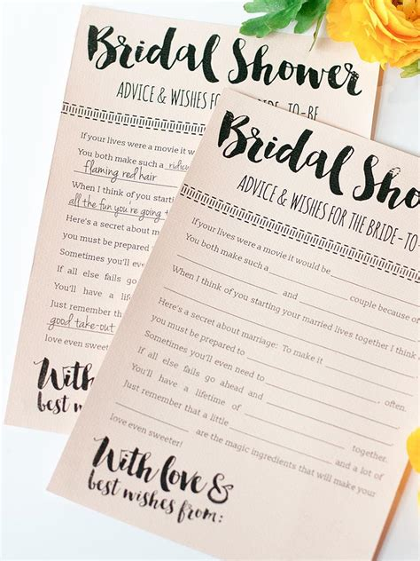 bridal shower advice cards template 10 printable bridal shower to diy
