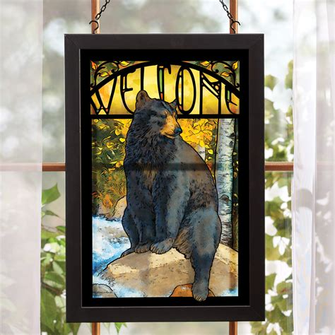 Over Bath Shower Screen black bear stained glass wall art