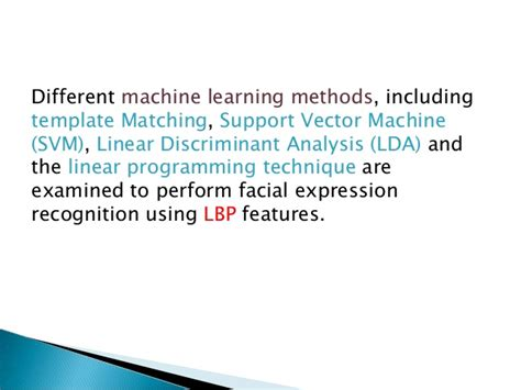 pattern matching machine learning facial expression recognition based on local binary