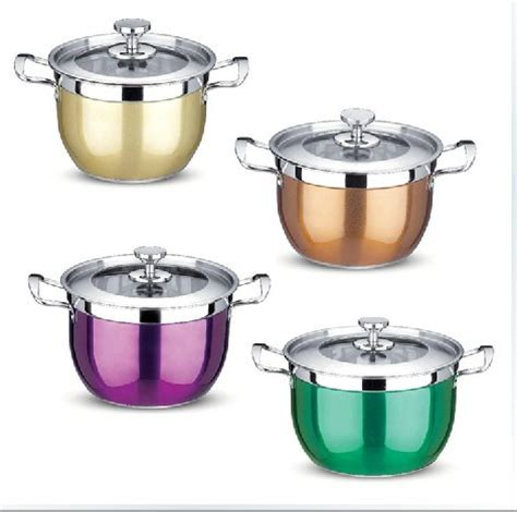kitchen pots wholesale hight quality stainless steel colour cooking pots cookware kitchen pots set and free