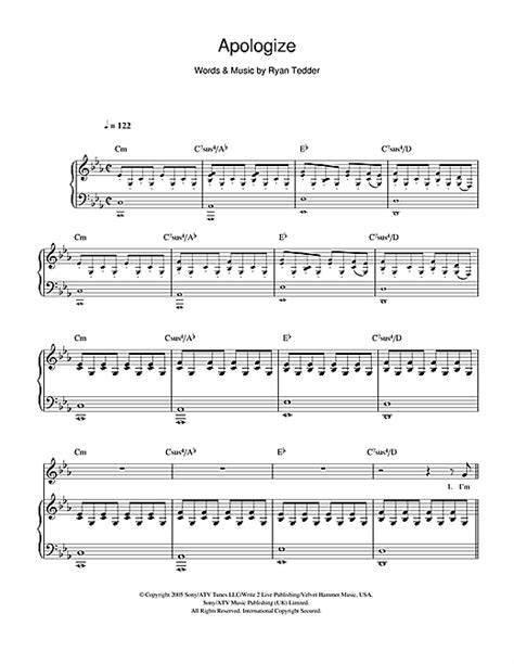 apologize one republic tutorial piano apologize sheet music by onerepublic piano vocal
