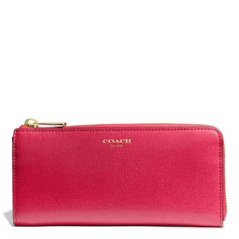 light pink coach wallet coach slim zip wallet in saffiano leather in red light