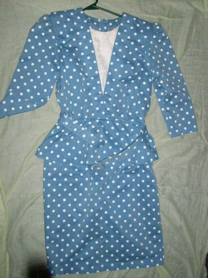Polka Gamis Combine s blue w white polka dot dress size 8