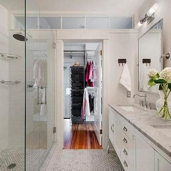 walk through closet to bathroom long and narrow walk through closet design ideas page 1
