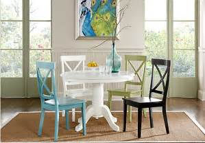 brynwood white 5 pc pedestal dining set w blue chairs