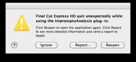 final cut pro quit unexpectedly while using the kgcore plug in final cut express hd 3 5 fails to open techyv com