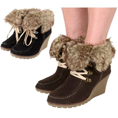 Faux Fur Lace Up Ankle Boots lace up faux suede wedge heel ankle boots with