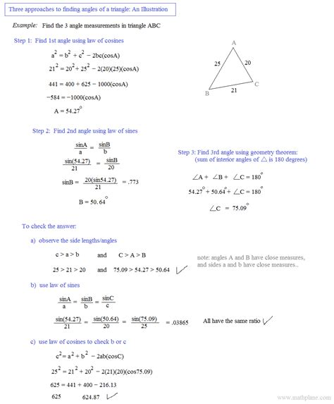 Trigonometry The Of Sines Worksheet Answers by Math Plane Of Sines And Cosines Area Of Triangles