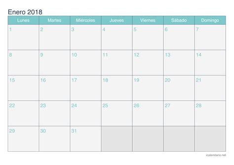 Calendario 2018 Enero Calendario Enero 2018 Para Imprimir Icalendario Net