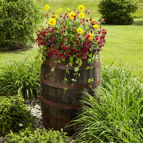 this barrel planter flipped as an outdoor