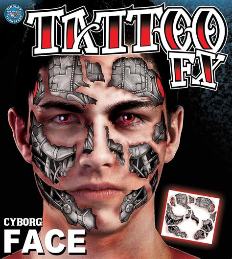 temporary face tattoos halloween temporary tattoos scary cyborg