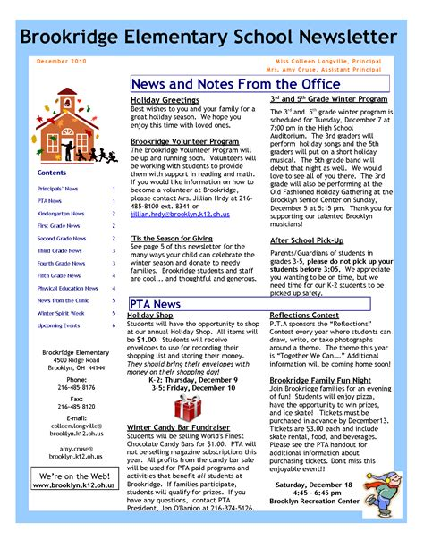 elementary school newsletter template free best photos of newsletter exles and ideas monthly