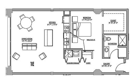 one bedroom with loft house plans floor plan 1e junior house lofts