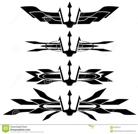 set of trident tattoo in black isolated stock vector