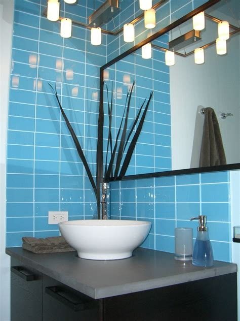 blue glass tile bathroom sky blue glass subway tile modwalls lush 3x6 modern tile