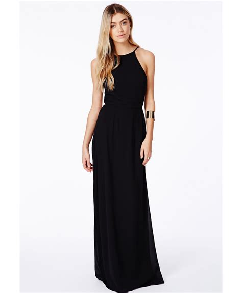 Strpy Maxy lyst missguided strappy open back maxi dress black in black