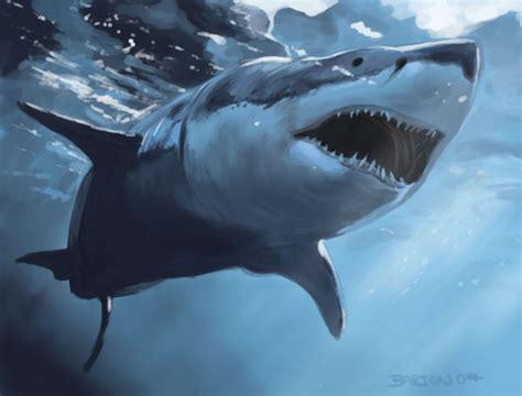 shark painting great white shark by of bart on deviantart