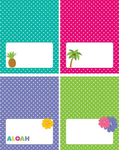 printable hawaiian name tags luau party food tents luau food labels instant download