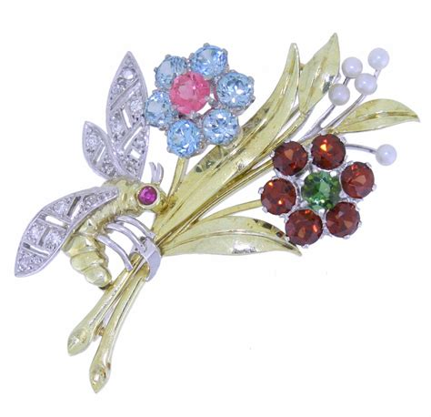 multi gemstone floral spray brooch with bee platinum and