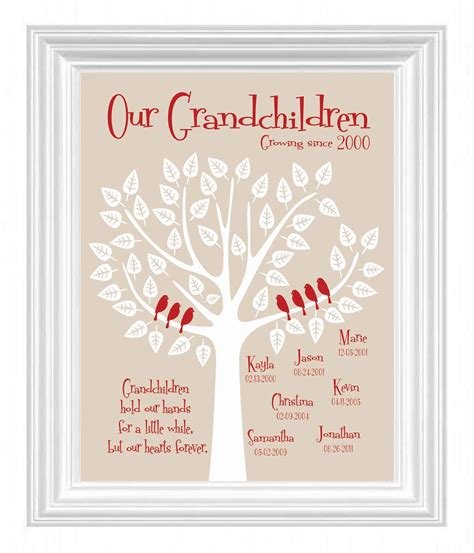 grandchildren family tree with grandkid s birth dates