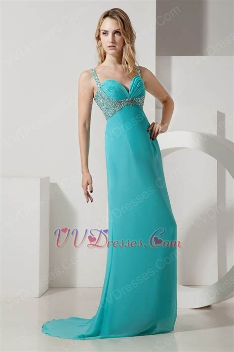 turquoise color dress straps ruched bodice turquoise chiffon prom dress with beading