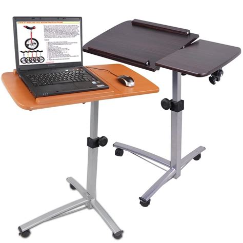 Laptop Tray Desk Portable Rolling Laptop Desk Table W Split Top Hospital Bed Food Tray Computer Ebay