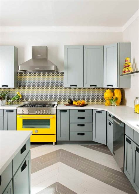 gray and yellow kitchen gray cabinets yellow oven kitchen pinterest