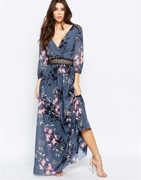 Maxi Lace Flowery floral print and lace maxi dress lace