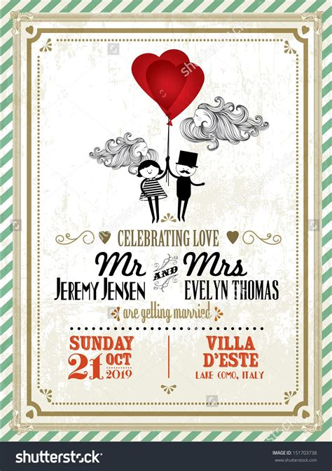 Vintage Wedding Invitation Card Template With Boy And Girl Holding Balloons Vector Illustration Vintage Card Templates