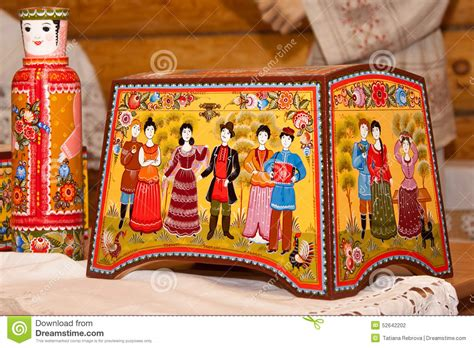 Handmade Handicraft Items - gorodets painting editorial photography image 52642202