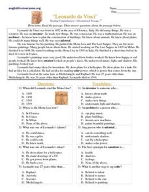 leonardo da vinci biography 7th grade reading comprehension informational passages quot leonardo