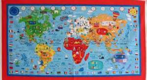 what a wonderful world map panel multi color childrens