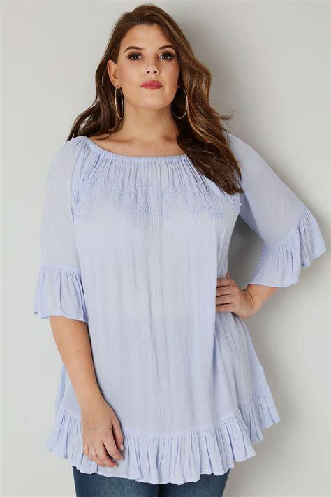 Sandal Wedges Cb01 lichtblauw bardot shirt met kralenversiering
