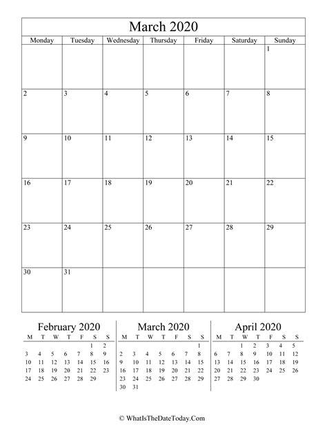 march  editable calendar vertical layout