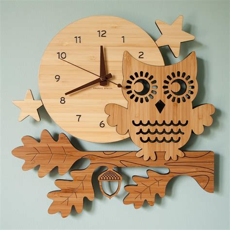 owl wall clock owl bamboo wall clock graphic spaces