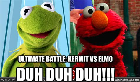 Elmo Meme - ultimate battle kermit vs elmo duh duh duh kermit vs