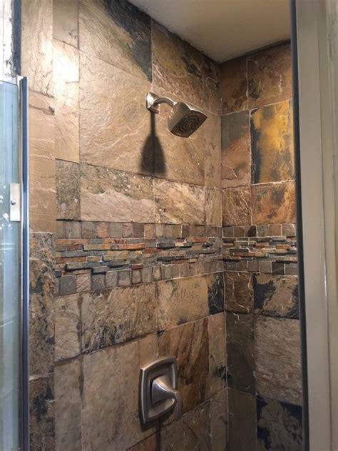Heating Lights For Bathroom by Slate Shower Rustic Bathroom By The Flooring Guy Llc