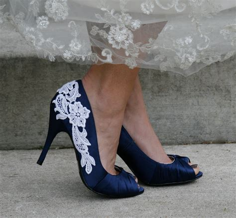Navy And White Shoes For Wedding by Navy Blue Wedding Shoes With Venise Lace Applique Size 10