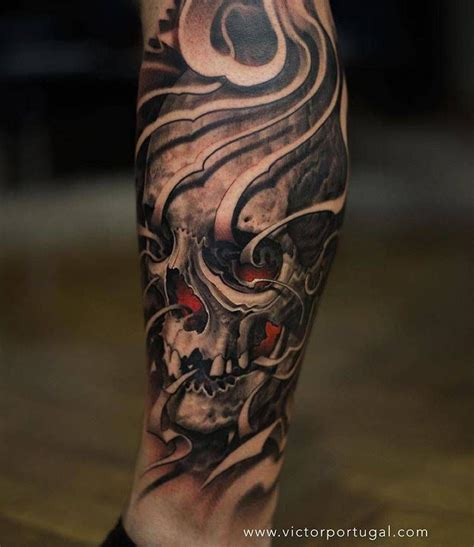 black and grey tattoo artists uk black and grey skull tattoo on the right calf tattoo