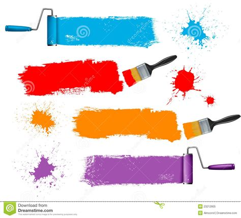 paint brush and paint roller and paint banners stock vector image 23212805