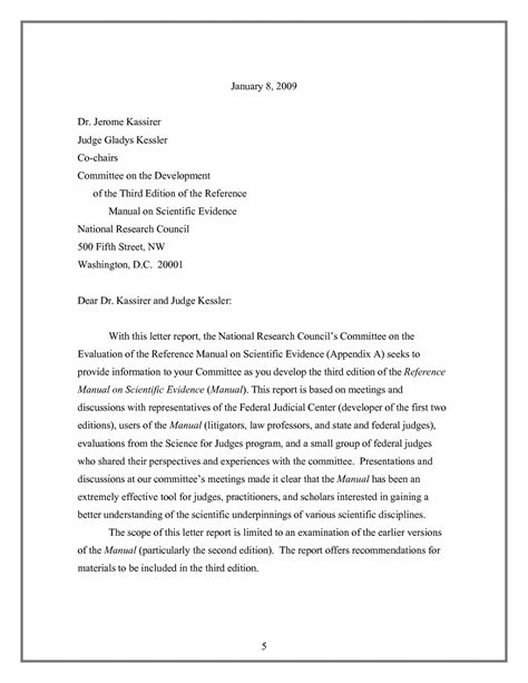 Evaluation Dispute Letter Letter Report Evaluation Of The Reference Manual On Scientific Evidence Letter Report The
