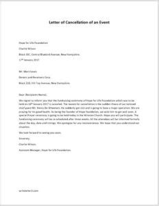 Cancellation Letter For An Event formal letter of cancellation of an event writeletter2