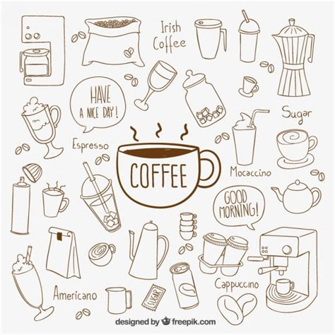 Hand drawn coffee elements Vector   Free Download