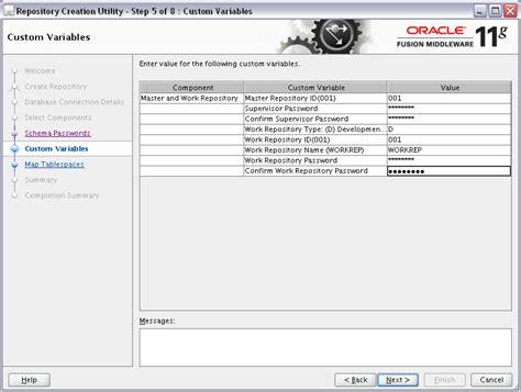 rcu create custom repository journaldev installing oracle data integrator